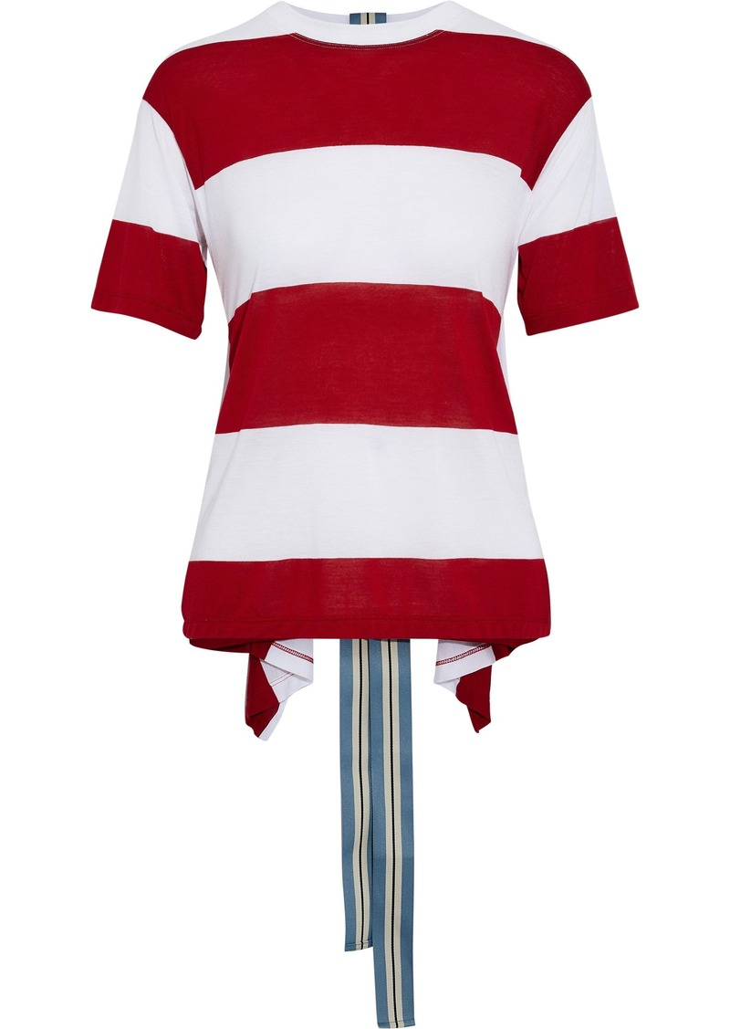 Diane Von Furstenberg Woman Grosgrain-trimmed Striped Jersey Top Red