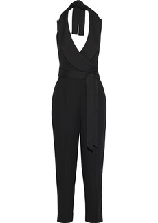 Diane Von Furstenberg Woman Habanna Wrap-effect Crepe Halterneck Jumpsuit Black
