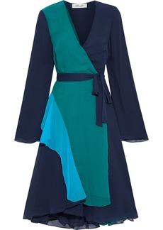 Diane Von Furstenberg Woman Halia Ruffled Color-block Georgette Wrap Dress Navy