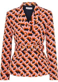 Diane Von Furstenberg Woman Halima Belted Printed Silk Crepe De Chine Blazer Orange