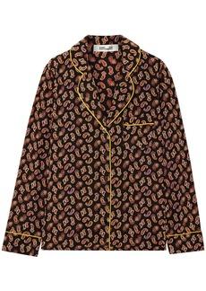 Diane Von Furstenberg Woman Halsey Printed Silk Crepe De Chine Shirt Black