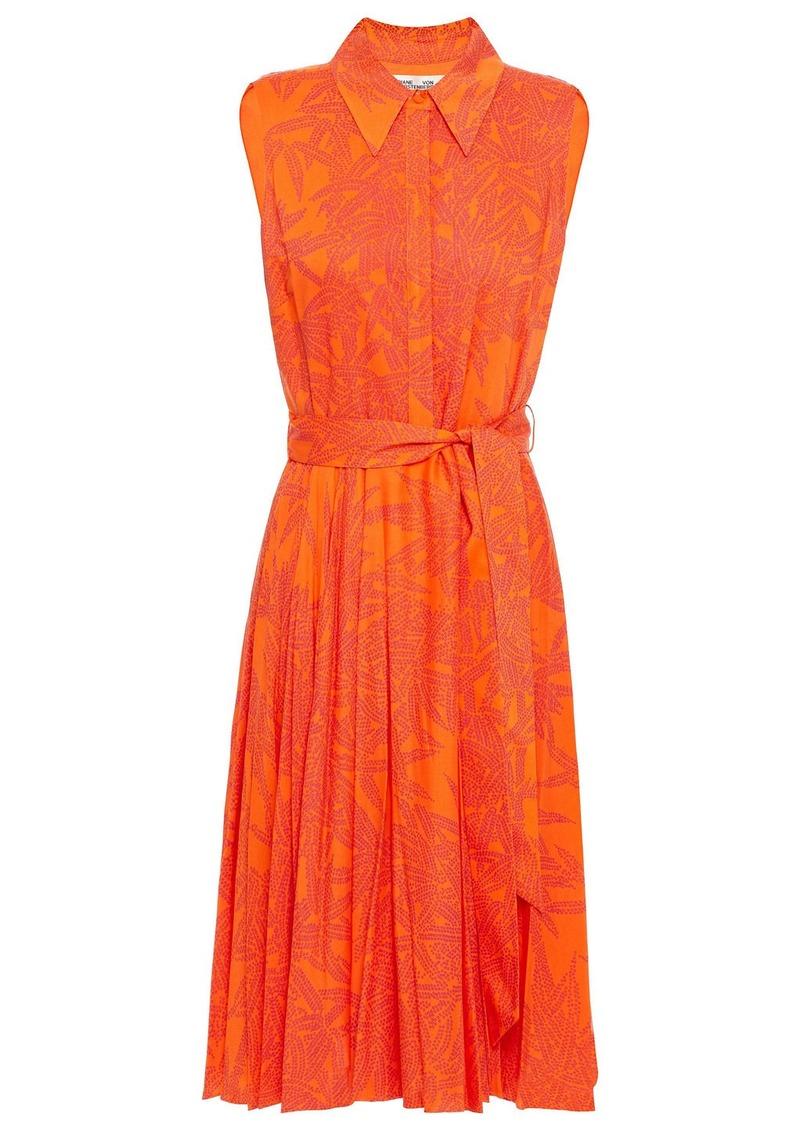 Diane Von Furstenberg Woman Harmony Belted Printed Voile Dress Orange