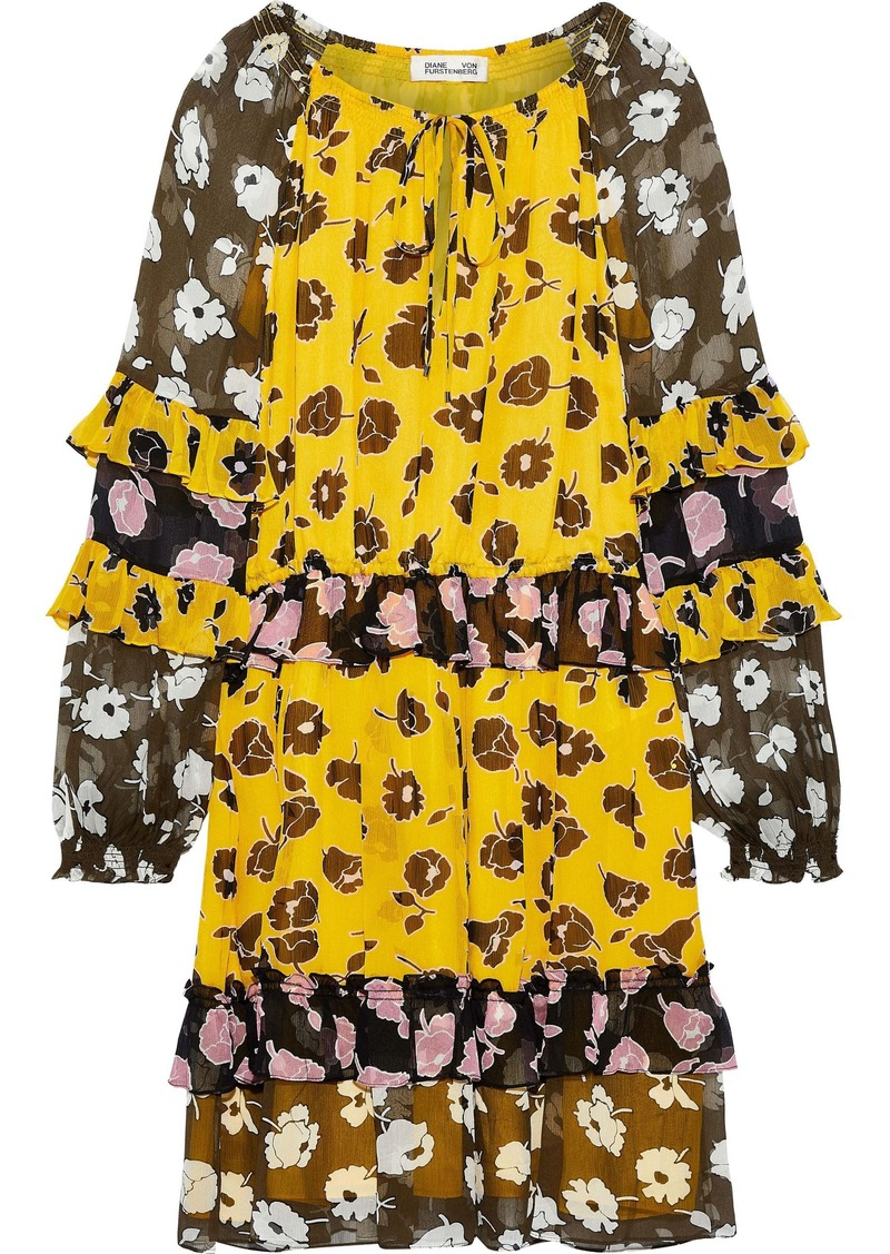 Diane Von Furstenberg Woman Haven Ruffled-trimmed Floral-print Silk-georgette Mini Dress Yellow