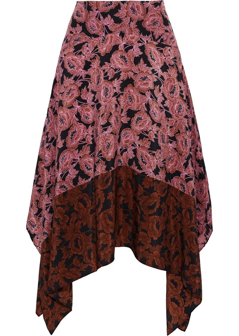 Diane Von Furstenberg Woman Hazem Asymmetric Paneled Floral-print Silk Crepe De Chine Skirt Pink