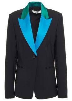 Diane Von Furstenberg Woman Heller Wool-blend Cady Blazer Emerald