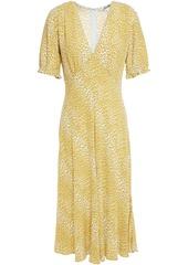 Diane Von Furstenberg Woman Idris Shirred Floral-print Crepe Dress Yellow
