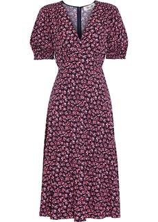 Diane Von Furstenberg Woman Idris Shirred Floral-print Crepe Dress Midnight Blue