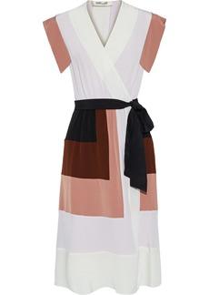 Diane Von Furstenberg Woman Ingrid Color-block Silk Crepe De Chine Wrap Dress Multicolor