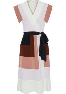 Diane Von Furstenberg Woman Ingrid Color-block Silk Crepe De Chine Wrap Dress Multicolor