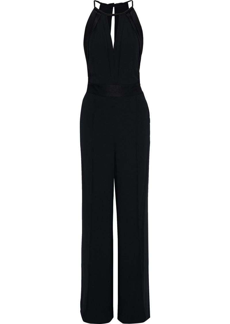 Diane Von Furstenberg Woman Ireland Cutout Satin-paneled Crepe Wide-leg Jumpsuit Black