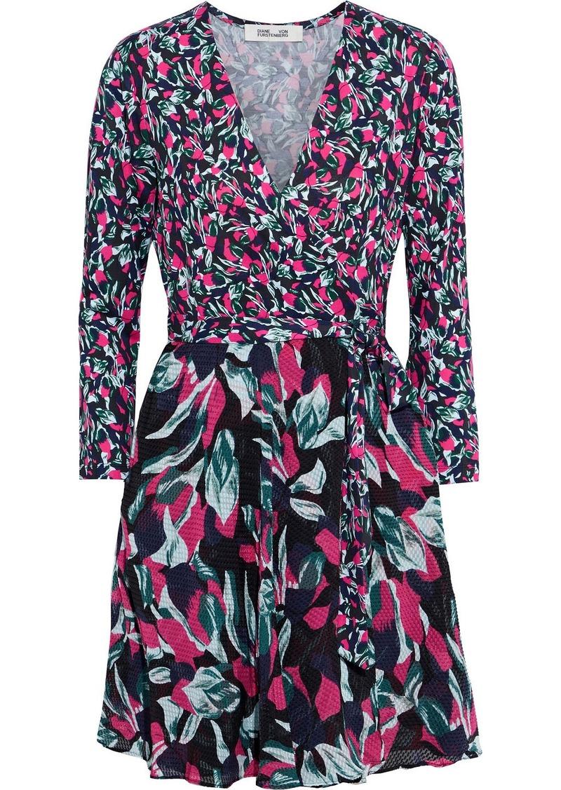 Diane Von Furstenberg Woman Irina Floral-print Silk-blend Jersey And Fil Coupé Chiffon Mini Wrap Dress Midnight Blue