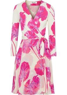 Diane Von Furstenberg Woman Irina Printed Jersey And Crinkled Silk-chiffon Wrap Dress Cream