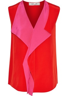 Diane Von Furstenberg Woman Isabel Draped Two-tone Silk Crepe De Chine Top Red