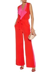 Diane Von Furstenberg Woman Isabel Draped Two-tone Silk Crepe De Chine Top Red