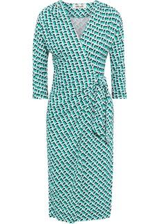 Diane Von Furstenberg Woman Isadora Wrap-effect Printed Silk-jersey Dress Turquoise