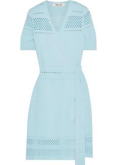 Diane Von Furstenberg Woman Ivy Pointelle-knit Mini Wrap Dress Sky Blue