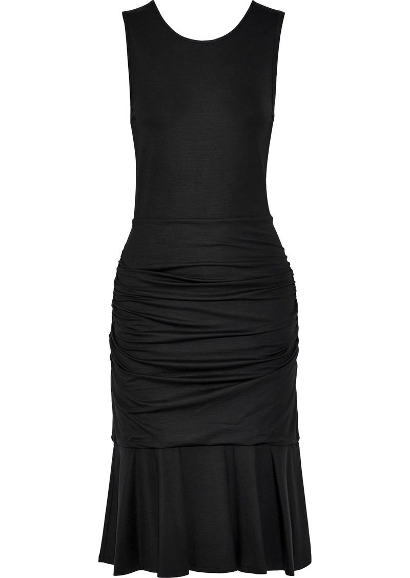 Diane Von Furstenberg Woman Jace Ruched Stretch-jersey Dress Black
