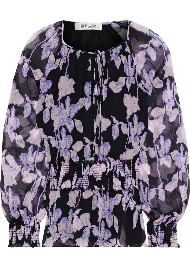 Diane Von Furstenberg Woman Jacie Shirred Floral-print Silk-georgette Peplum Blouse Lavender