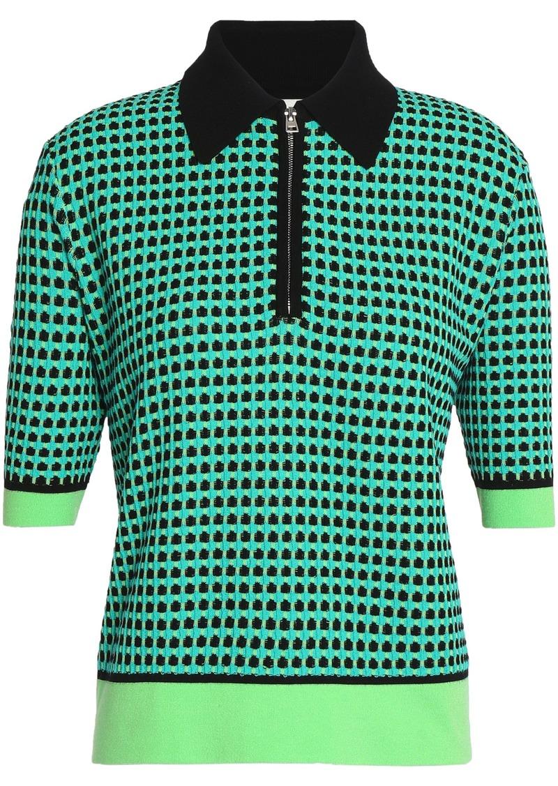 Diane Von Furstenberg Woman Jacquard-knit Polo Shirt Jade