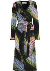 Diane Von Furstenberg Woman Janalee Belted Printed Stretch-mesh Midi Dress Black