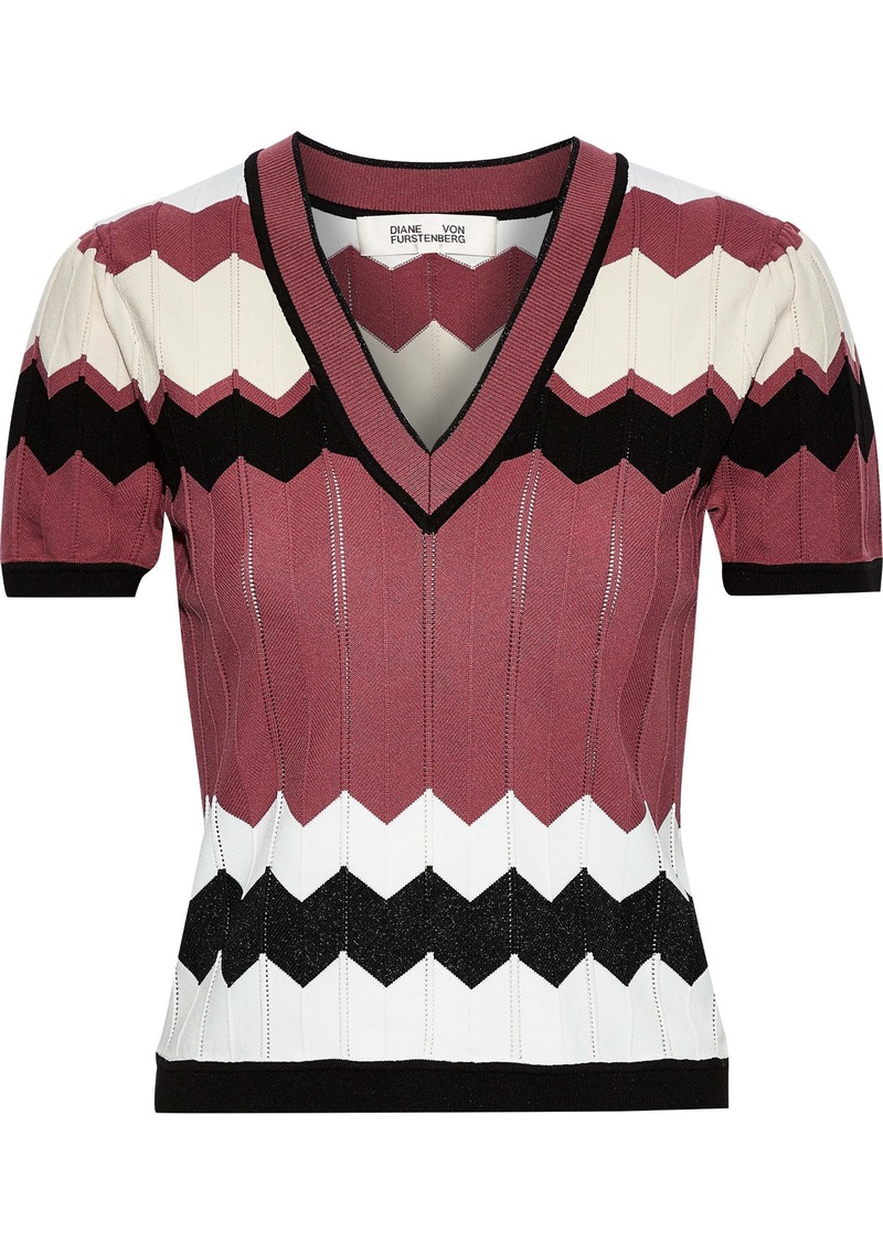 Diane Von Furstenberg Woman Janelle Crochet-knit Top Multicolor