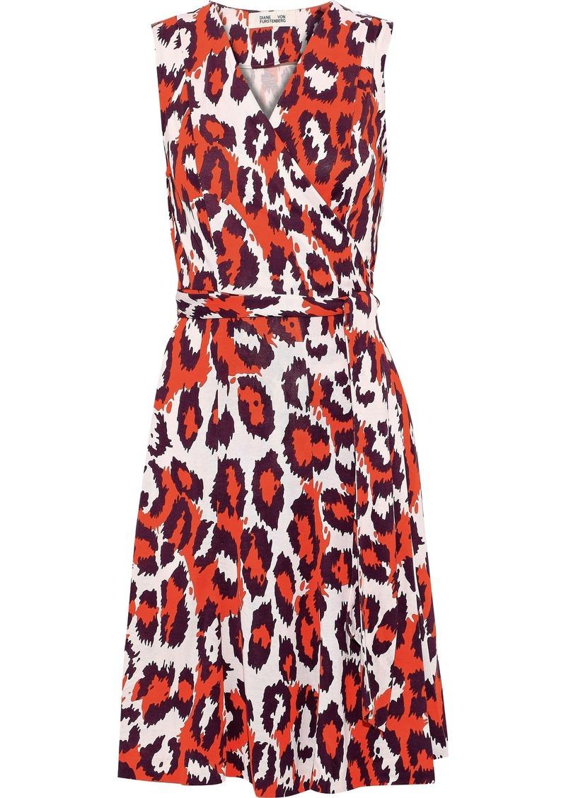 Diane Von Furstenberg Woman Jasmine Printed Silk-jersey Mini Wrap Dress Papaya