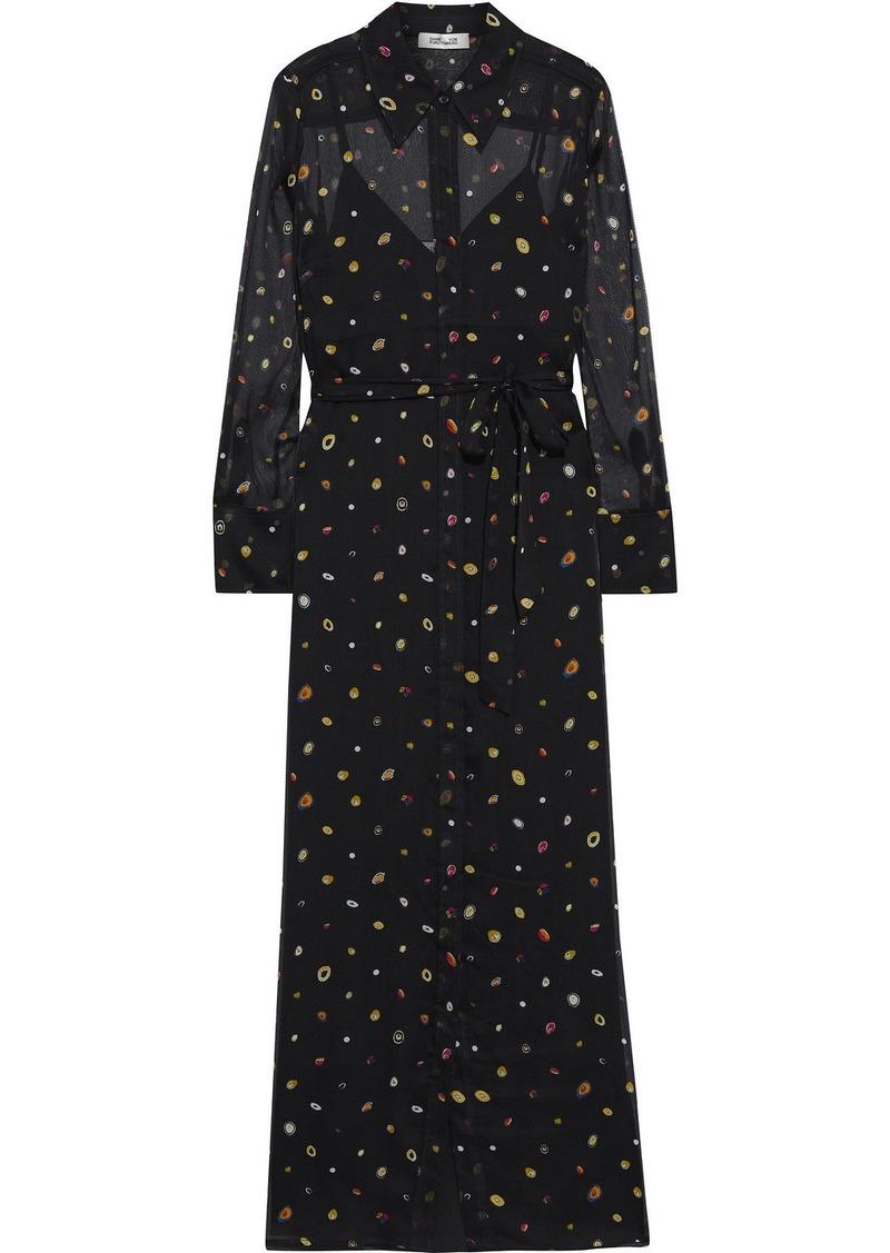 Diane Von Furstenberg Woman Jean Michel Printed Silk-georgette Maxi Shirt Dress Black