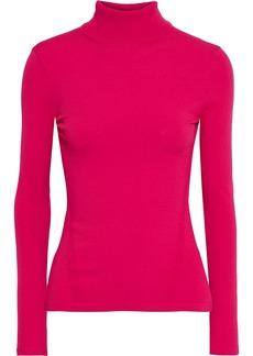 Diane Von Furstenberg Woman Jelena Ribbed And Stretch-knit Turtleneck Sweater Bright Pink
