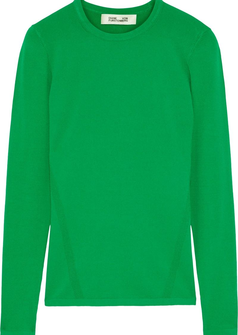 Diane Von Furstenberg Woman Jess Stretch-knit Top Green