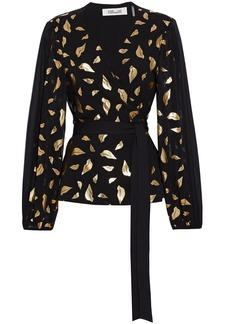 Diane Von Furstenberg Woman Jessa Metallic Printed Crepe De Chine Wrap Blouse Black