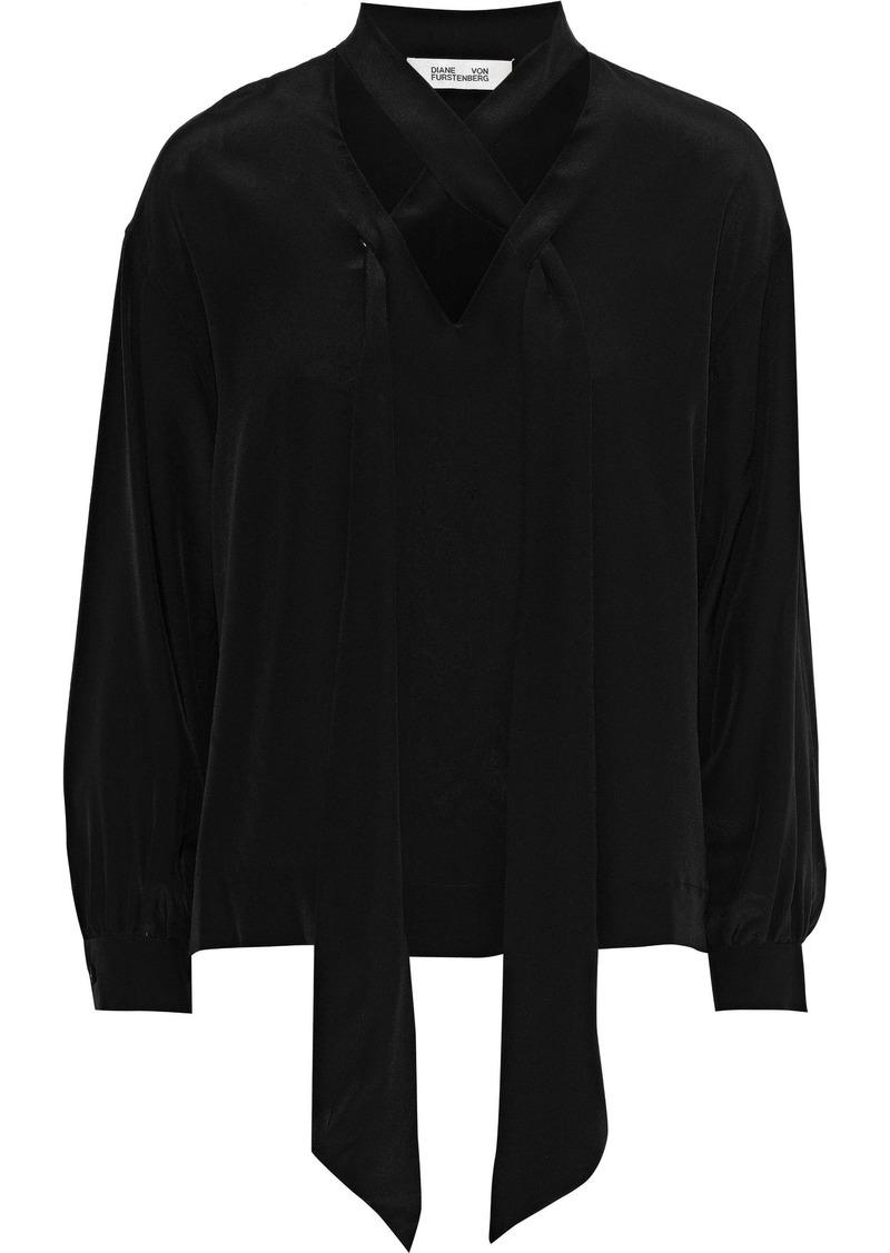 Diane Von Furstenberg Woman Pussy-bow Silk Crepe De Chine Blouse Black