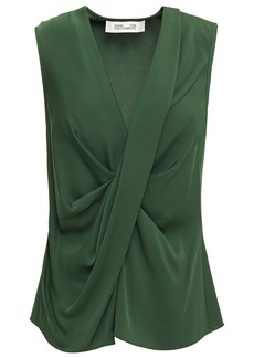 Diane Von Furstenberg Woman Jessie Draped Stretch-silk Top Leaf Green