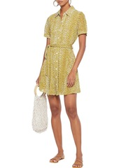 Diane Von Furstenberg Woman Jett Belted Leopard-print Jersey Mini Shirt Dress Mustard