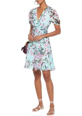 Diane Von Furstenberg Woman Jillian Twist-front Floral-print Chiffon-paneled Silk-georgette Mini Dress Sky Blue