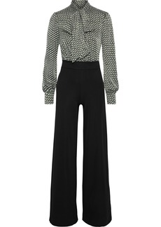 Diane Von Furstenberg Woman Jilly Fil Coupé Jacquard-paneled Cady Wide-leg Jumpsuit Black