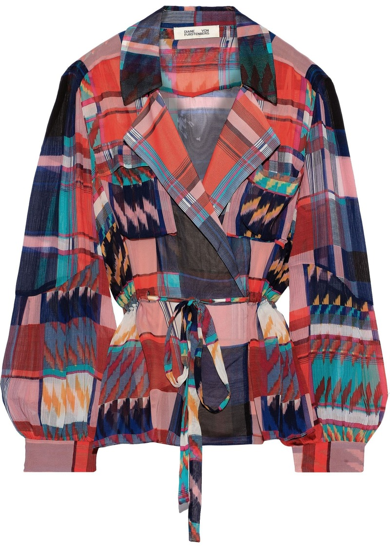 Diane Von Furstenberg Woman Joanna Georgette-paneled Checked Silk-chiffon Wrap Top Multicolor