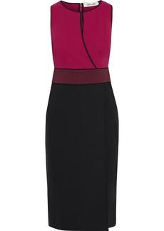 Diane Von Furstenberg Woman Joanne Wrap-effect Color-block Ponte Dress Magenta