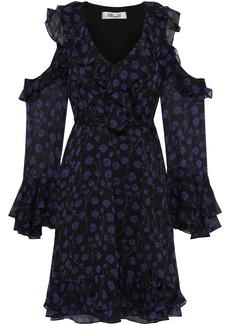 Diane Von Furstenberg Woman Joni Cold-shoulder Ruffled Floral-print Silk-georgette Mini Dress Black
