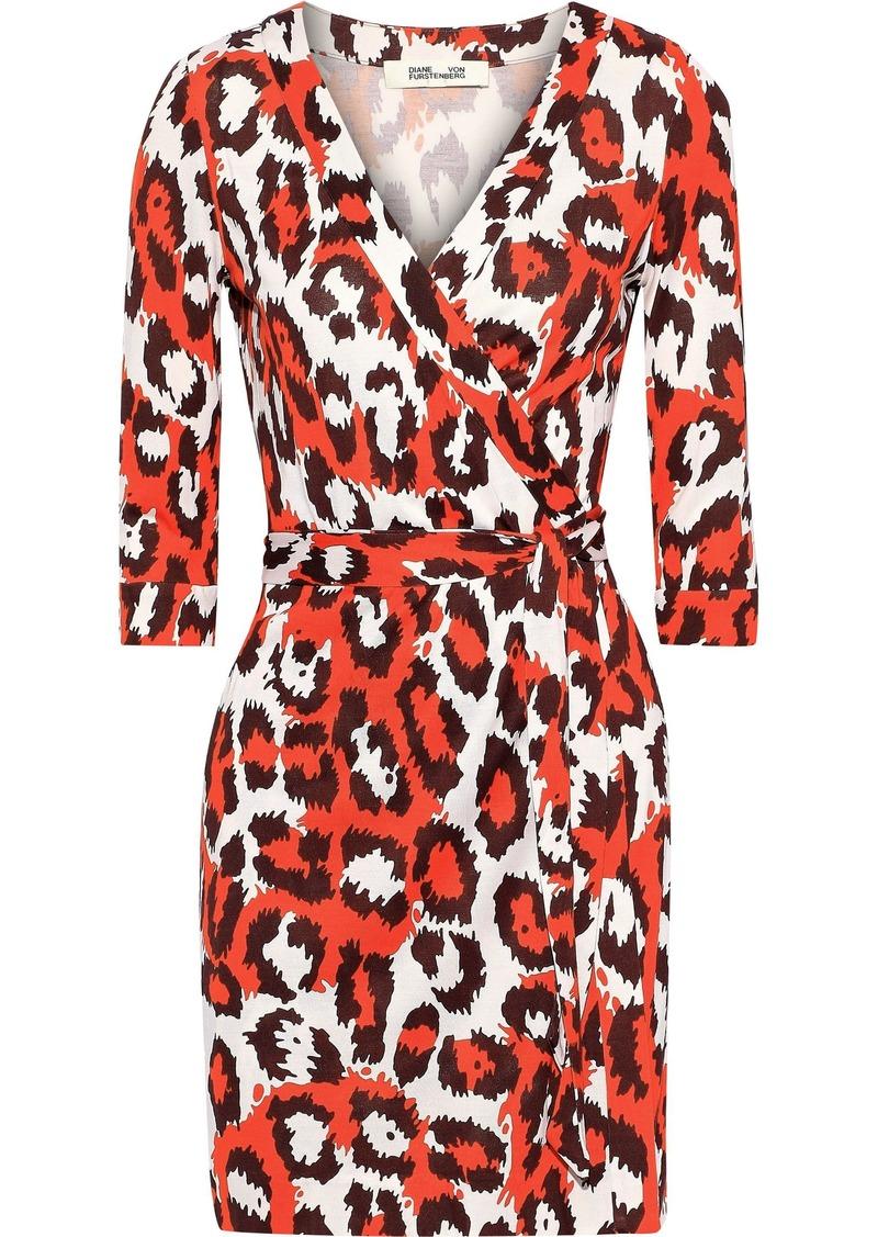 Diane Von Furstenberg Woman Julian Leopard-print Silk-jersey Mini Wrap Dress Orange