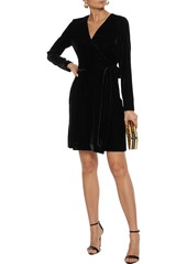Diane Von Furstenberg Woman Julian Velvet Mini Wrap Dress Black
