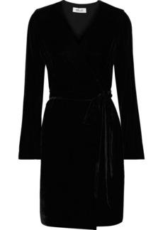 Diane Von Furstenberg Woman Julian Velvet Mini Wrap Dress Black
