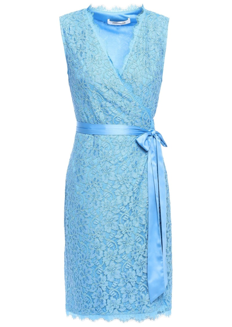 Diane Von Furstenberg Woman Julianna Satin-trimmed Corded Lace Mini Wrap Dress Light Blue