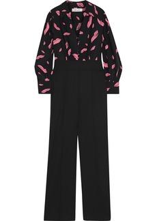 Diane Von Furstenberg Woman June Printed Silk Crepe De Chine And Wool-blend Cady Jumpsuit Black