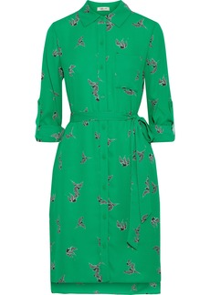 Diane Von Furstenberg Woman Kadi Printed Crepe Mini Shirt Dress Green