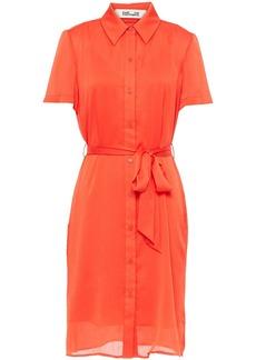 Diane Von Furstenberg Woman Kadina Belted Crepon Shirt Dress Bright Orange