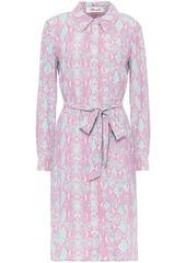 Diane Von Furstenberg Woman Kadina Belted Snake-print Crepe Shirt Dress Baby Pink