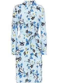Diane Von Furstenberg Woman Kadina Belted Printed Crepe Shirt Dress Light Blue