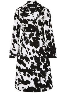 Diane Von Furstenberg Woman Kaia Printed Stretch-cotton Twill Trench Black