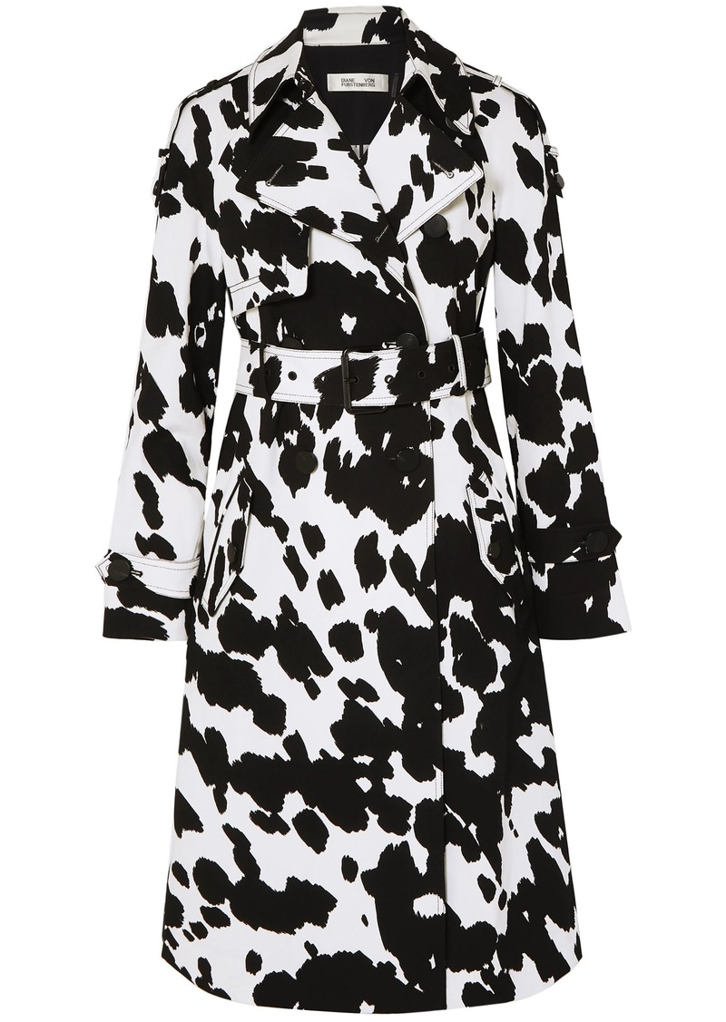Diane Von Furstenberg Woman Kaia Printed Stretch-cotton Twill Trench Black
