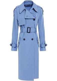 Diane Von Furstenberg Woman Kaia Woven Trench Coat Light Blue